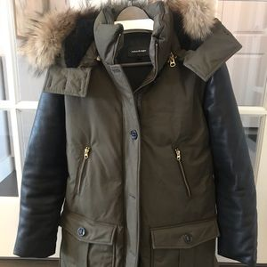 Mackage Parka with Leather Sleeves